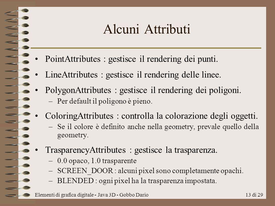 Alcuni Attributi PointAttributes : gestisce il rendering dei punti.
