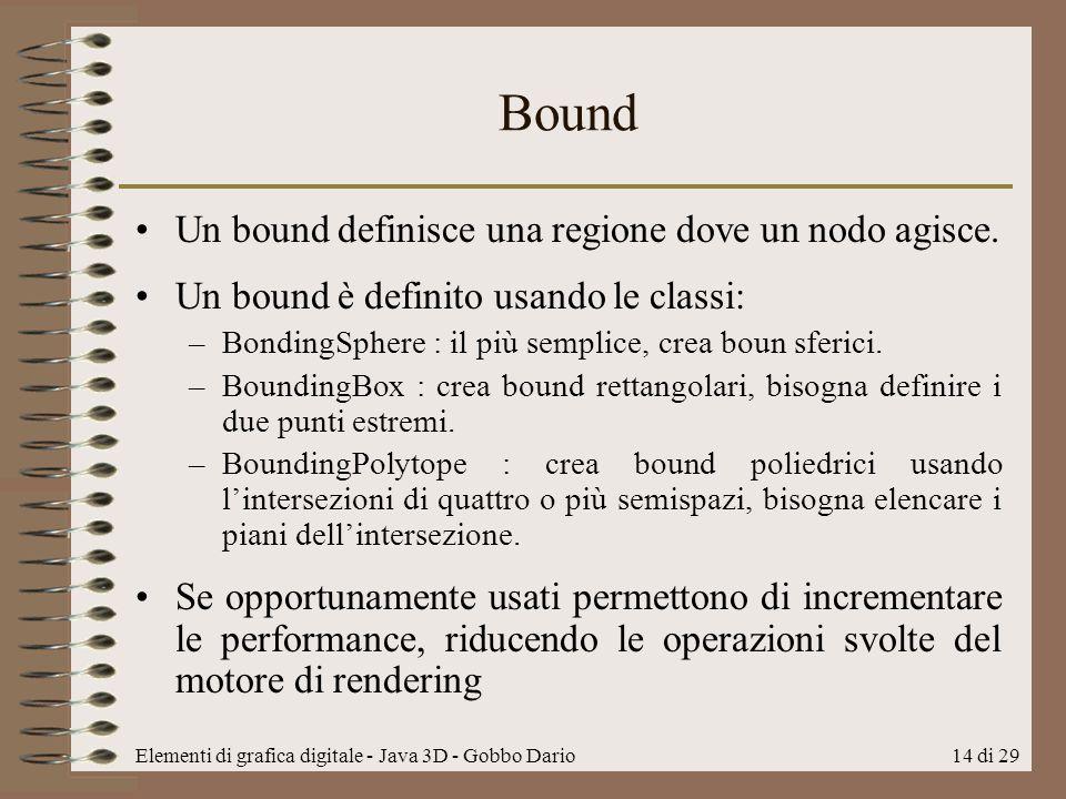 Bound Un bound definisce una regione dove un nodo agisce.