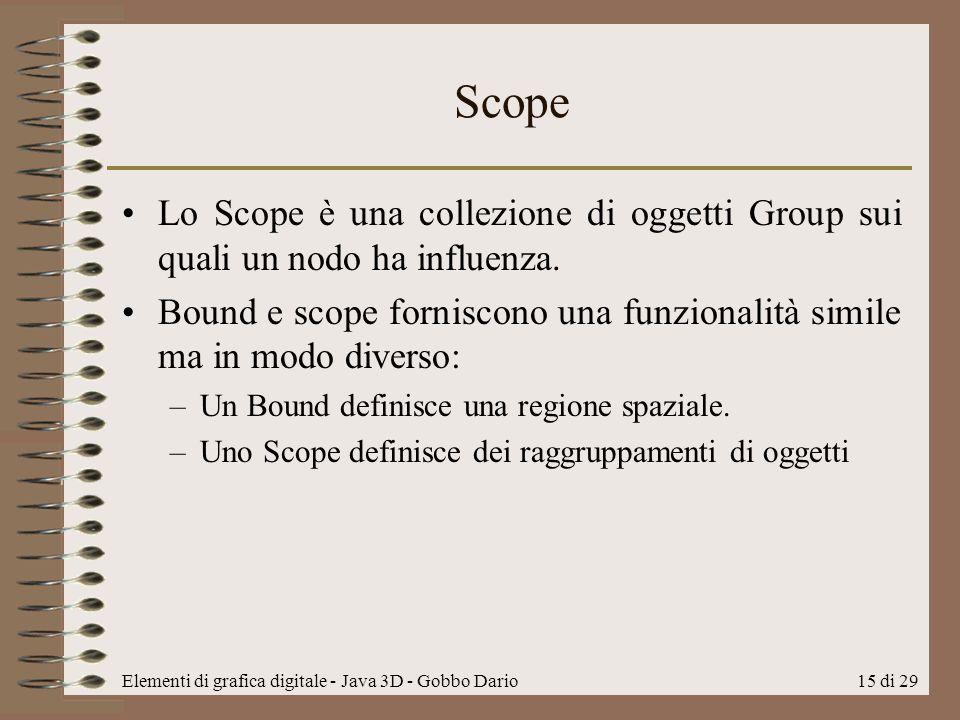 Scope Lo Scope è una collezione di oggetti Group sui quali un nodo ha influenza.