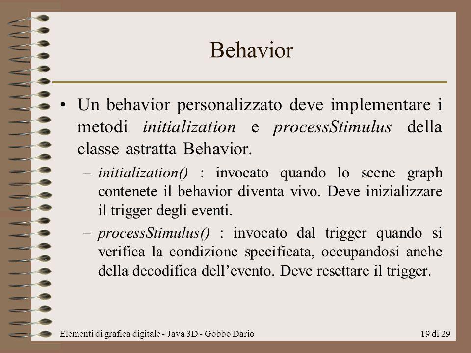 Behavior Un behavior personalizzato deve implementare i metodi initialization e processStimulus della classe astratta Behavior.