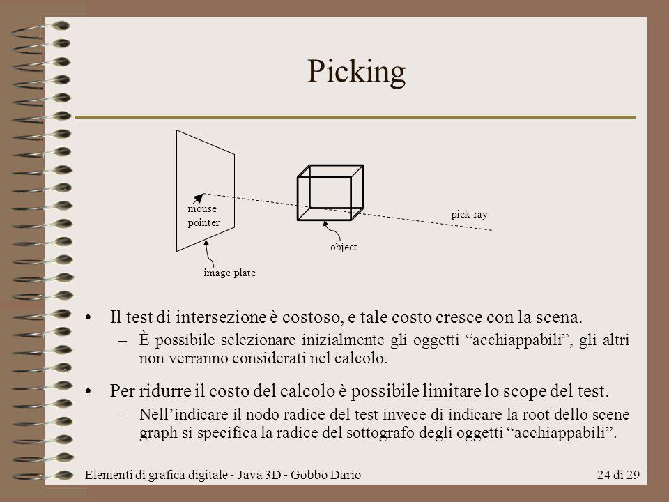 Picking mouse pointer. pick ray. object. image plate. Il test di intersezione è costoso, e tale costo cresce con la scena.