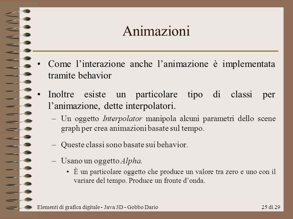 Animazioni Come l'interazione anche l'animazione è implementata tramite behavior.
