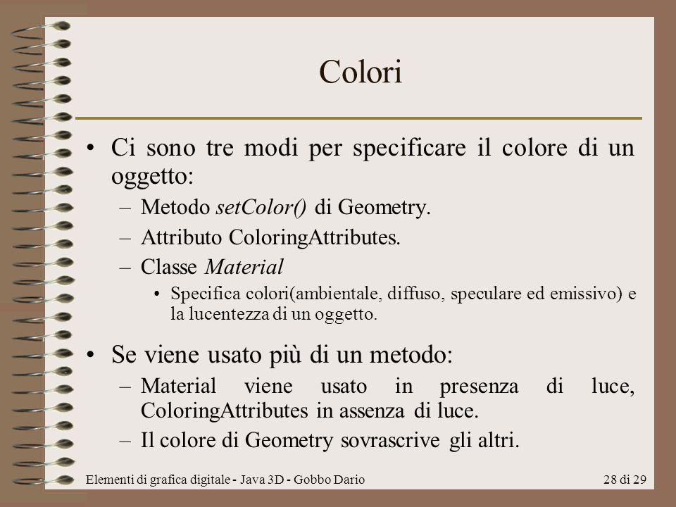 Colori Ci sono tre modi per specificare il colore di un oggetto: