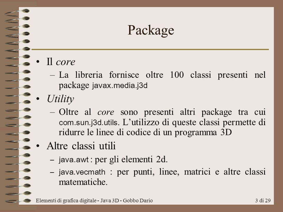 Package Il core Utility Altre classi utili
