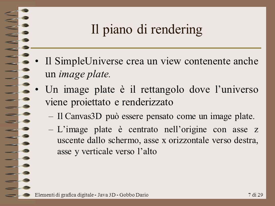 Il piano di rendering Il SimpleUniverse crea un view contenente anche un image plate.