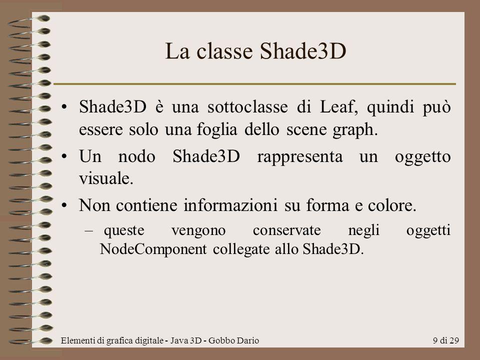 La classe Shade3D Shade3D è una sottoclasse di Leaf, quindi può essere solo una foglia dello scene graph.