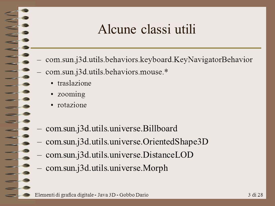 Alcune classi utili com.sun.j3d.utils.universe.Billboard