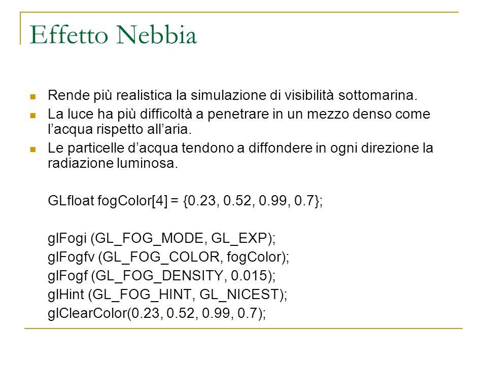 Effetto Nebbia Rende più realistica la simulazione di visibilità sottomarina.