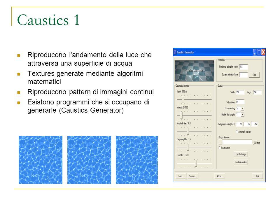 Caustics 1 Riproducono l'andamento della luce che attraversa una superficie di acqua. Textures generate mediante algoritmi matematici.