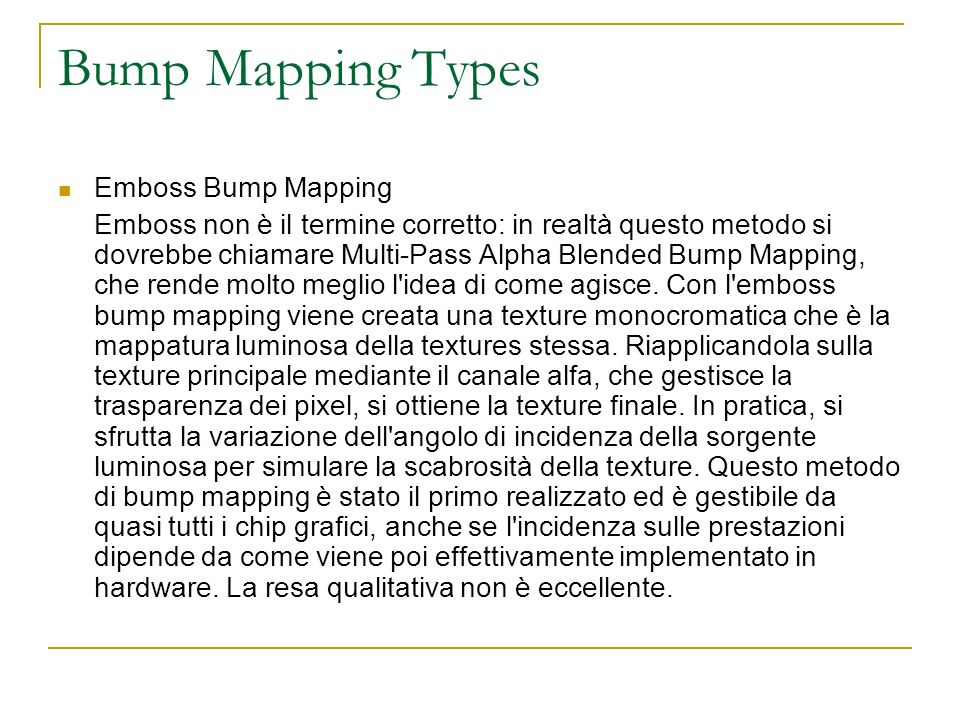 Bump Mapping Types Emboss Bump Mapping