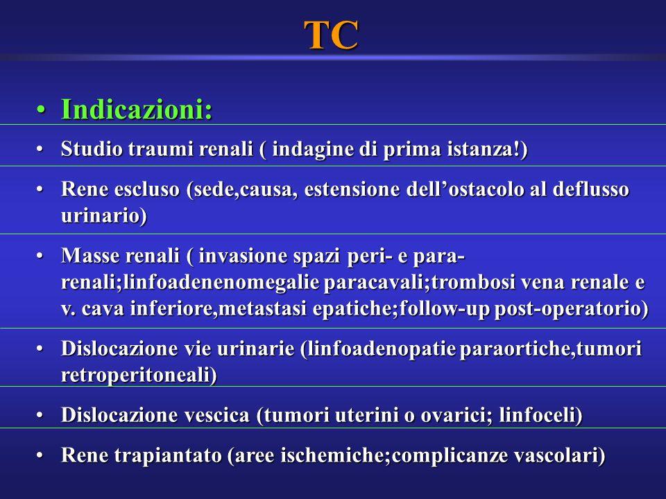 TC Indicazioni: Studio traumi renali ( indagine di prima istanza!)