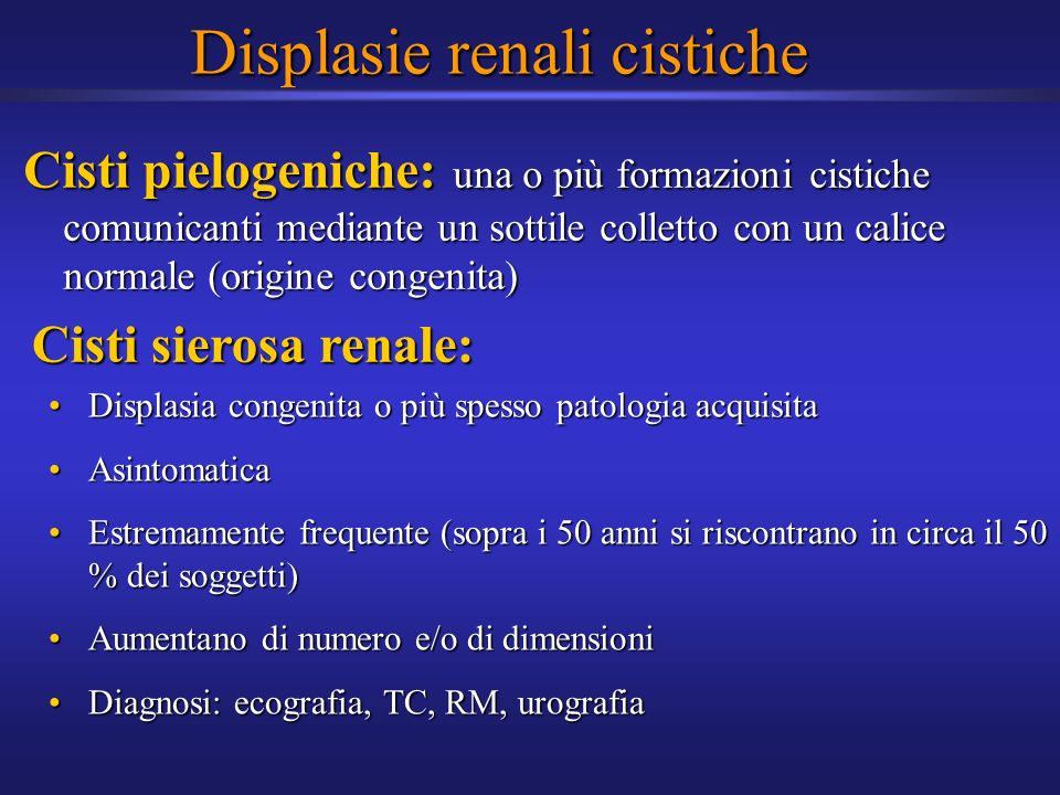Displasie renali cistiche
