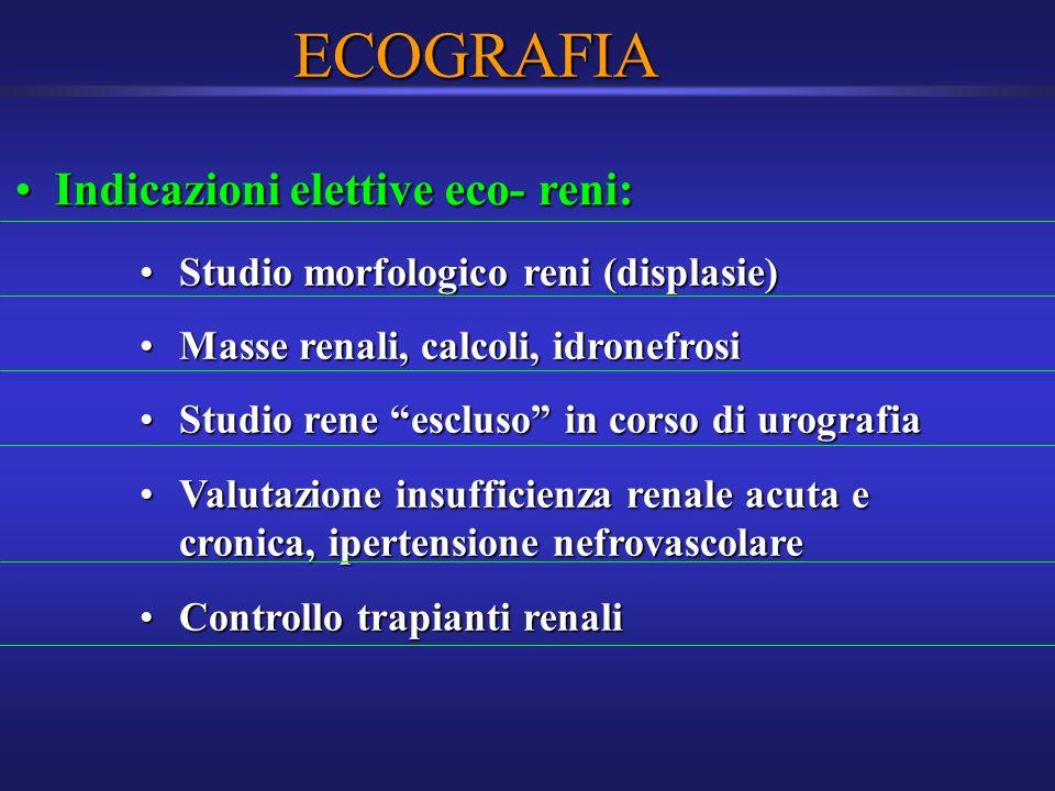 ECOGRAFIA Indicazioni elettive eco- reni: