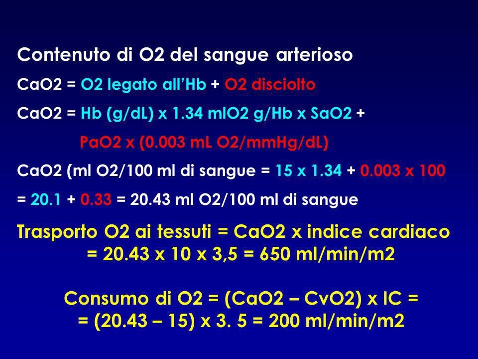 Consumo di O2 = (CaO2 – CvO2) x IC =