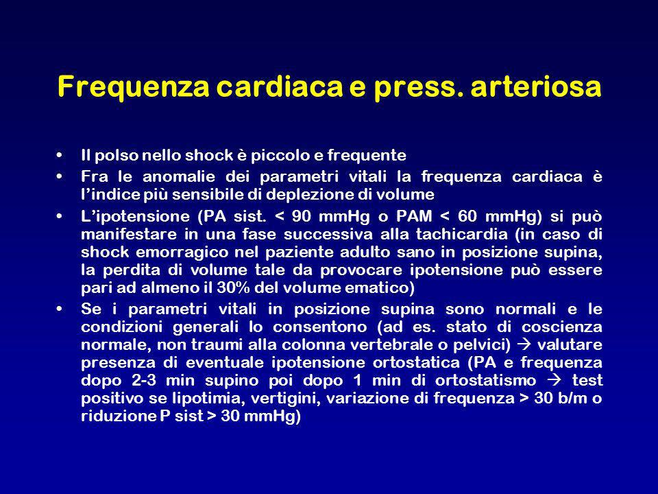Frequenza cardiaca e press. arteriosa