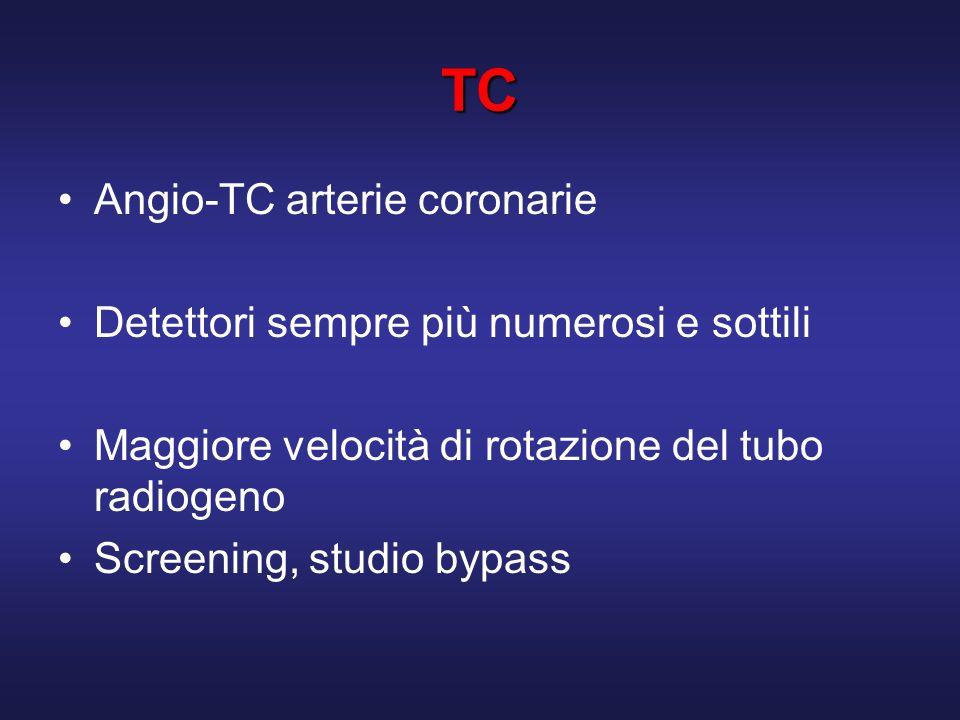 TC Angio-TC arterie coronarie Detettori sempre più numerosi e sottili