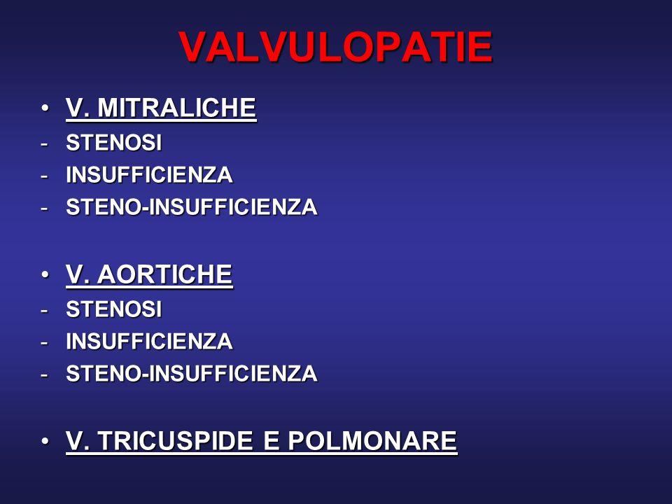 VALVULOPATIE V. MITRALICHE V. AORTICHE V. TRICUSPIDE E POLMONARE