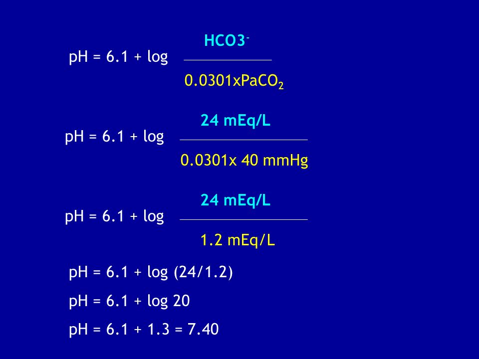 HCO3- pH = 6.1 + log. 0.0301xPaCO2. 24 mEq/L. pH = 6.1 + log. 0.0301x 40 mmHg. 24 mEq/L. pH = 6.1 + log.