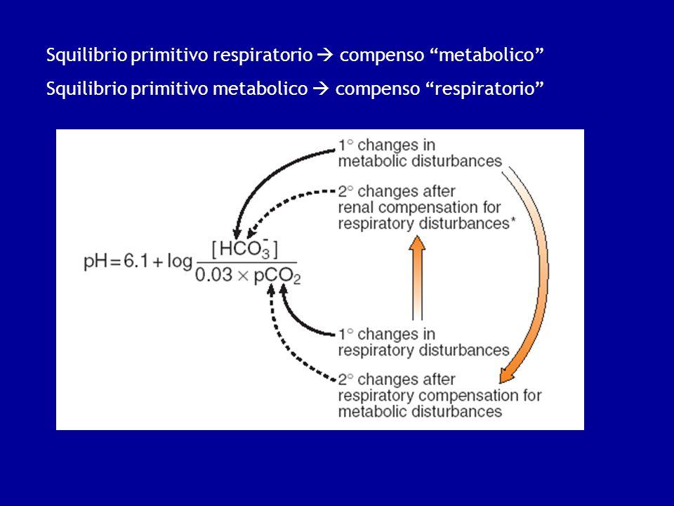 Squilibrio primitivo respiratorio  compenso metabolico