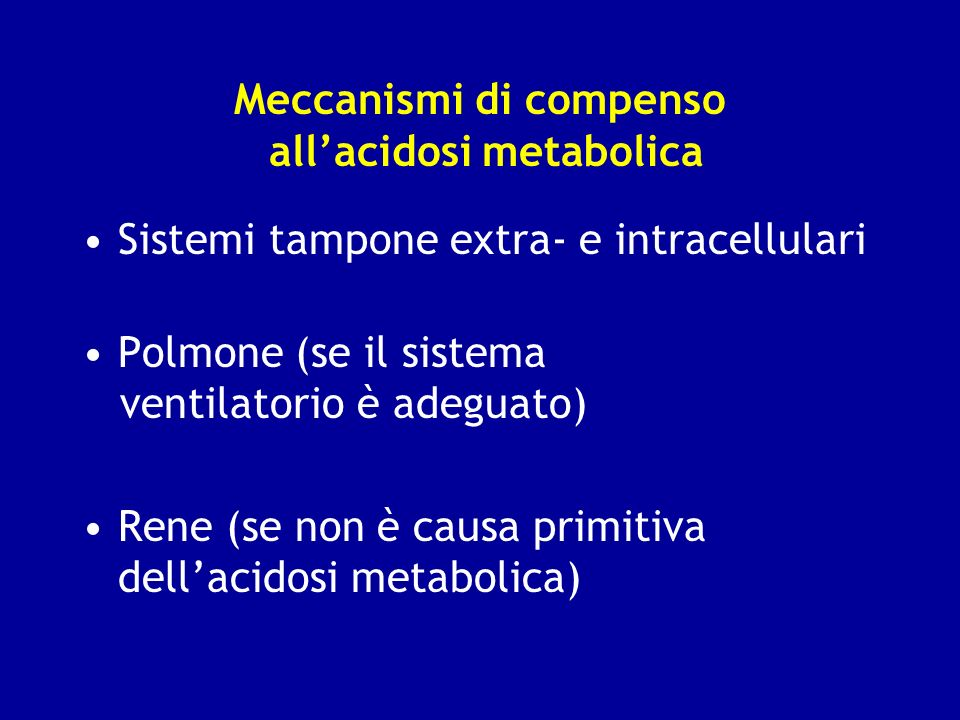 Meccanismi di compenso all'acidosi metabolica