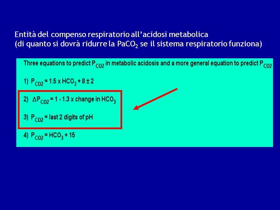 Entità del compenso respiratorio all'acidosi metabolica