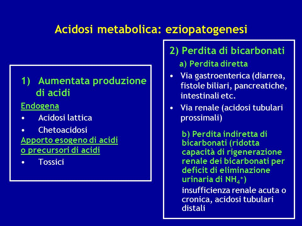 Acidosi metabolica: eziopatogenesi