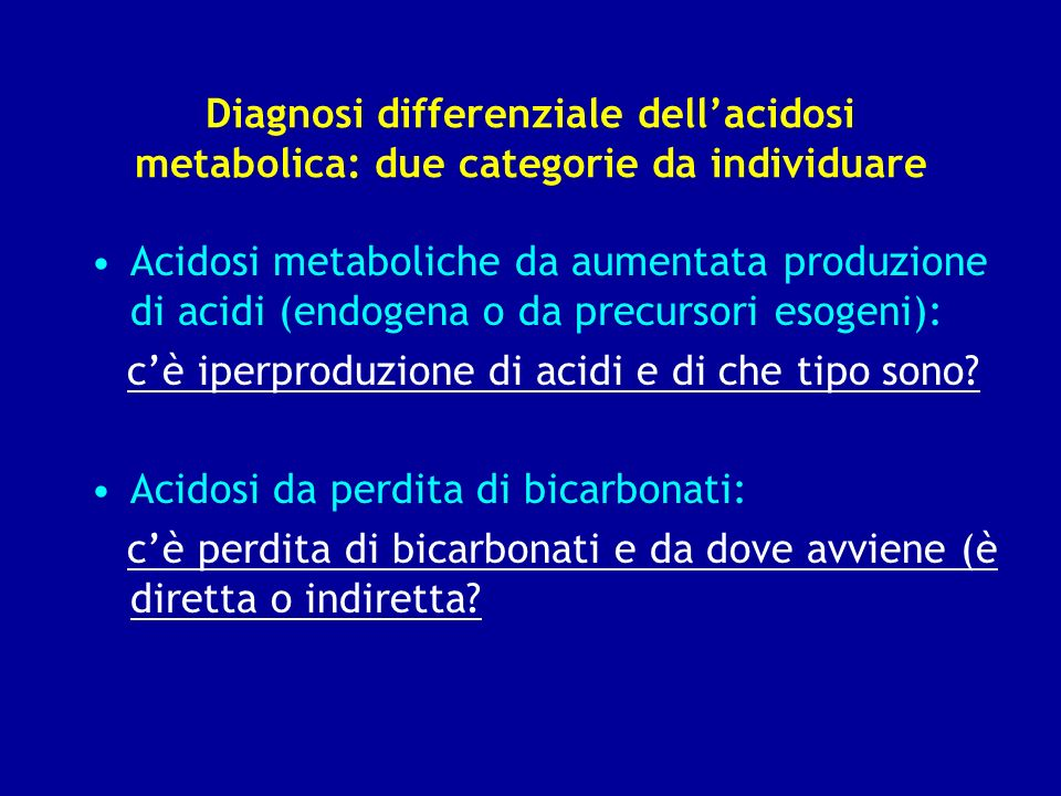 Diagnosi differenziale dell'acidosi metabolica: due categorie da individuare