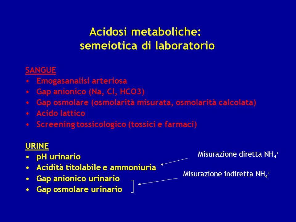 Acidosi metaboliche: semeiotica di laboratorio