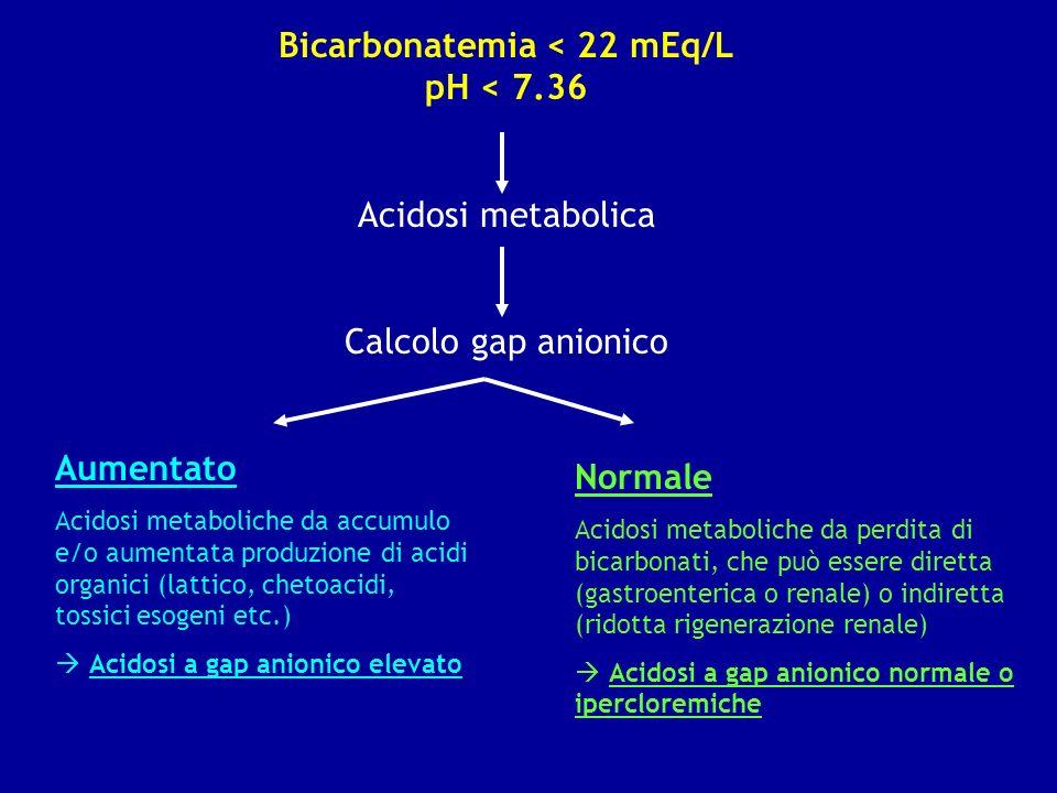 Bicarbonatemia < 22 mEq/L