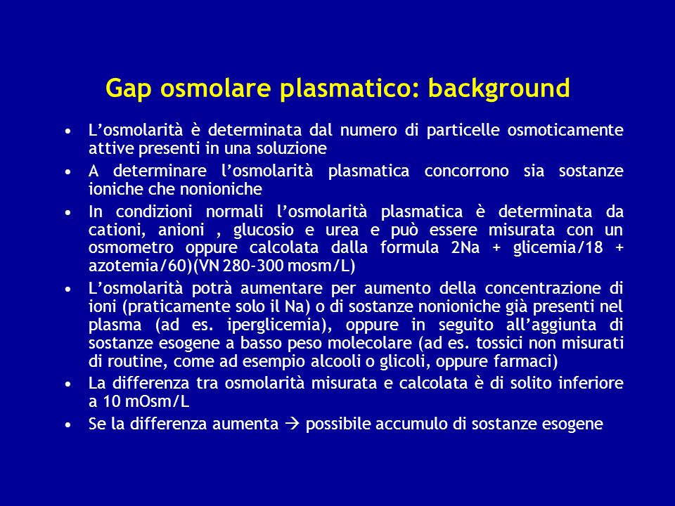 Gap osmolare plasmatico: background