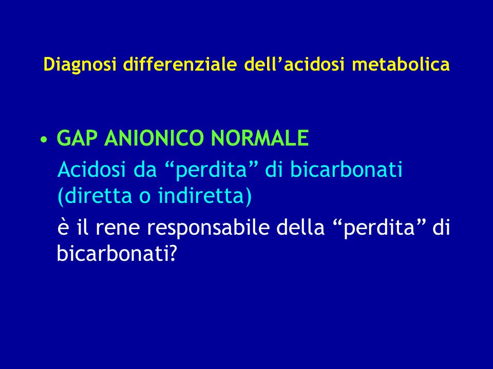 Diagnosi differenziale dell'acidosi metabolica