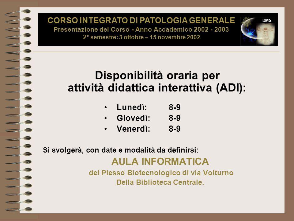 Disponibilità oraria per attività didattica interattiva (ADI):