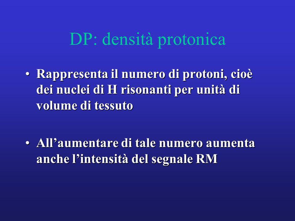 DP: densità protonica Rappresenta il numero di protoni, cioè dei nuclei di H risonanti per unità di volume di tessuto.