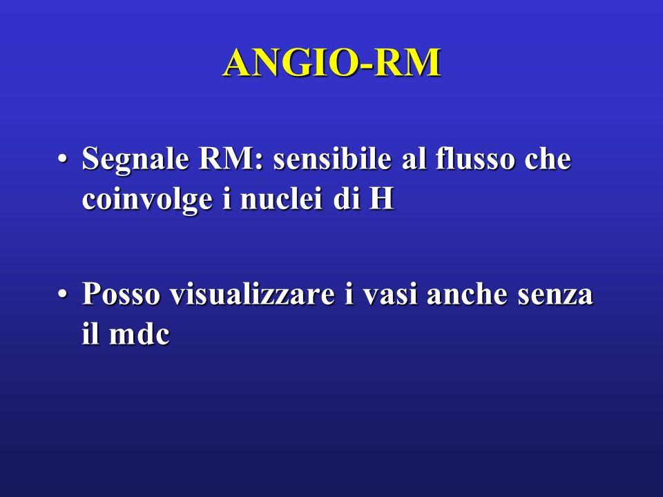 ANGIO-RM Segnale RM: sensibile al flusso che coinvolge i nuclei di H