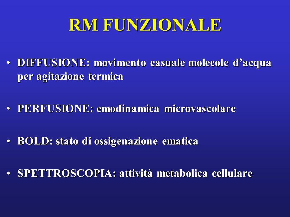 RM FUNZIONALE DIFFUSIONE: movimento casuale molecole d'acqua per agitazione termica. PERFUSIONE: emodinamica microvascolare.