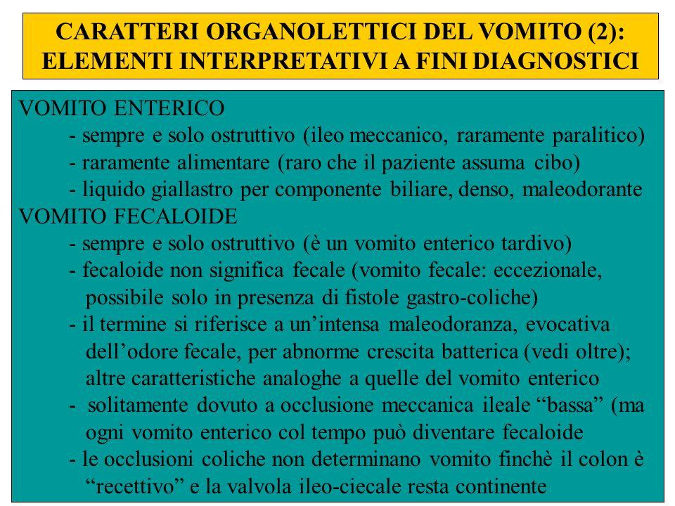 CARATTERI ORGANOLETTICI DEL VOMITO (2): ELEMENTI INTERPRETATIVI A FINI DIAGNOSTICI