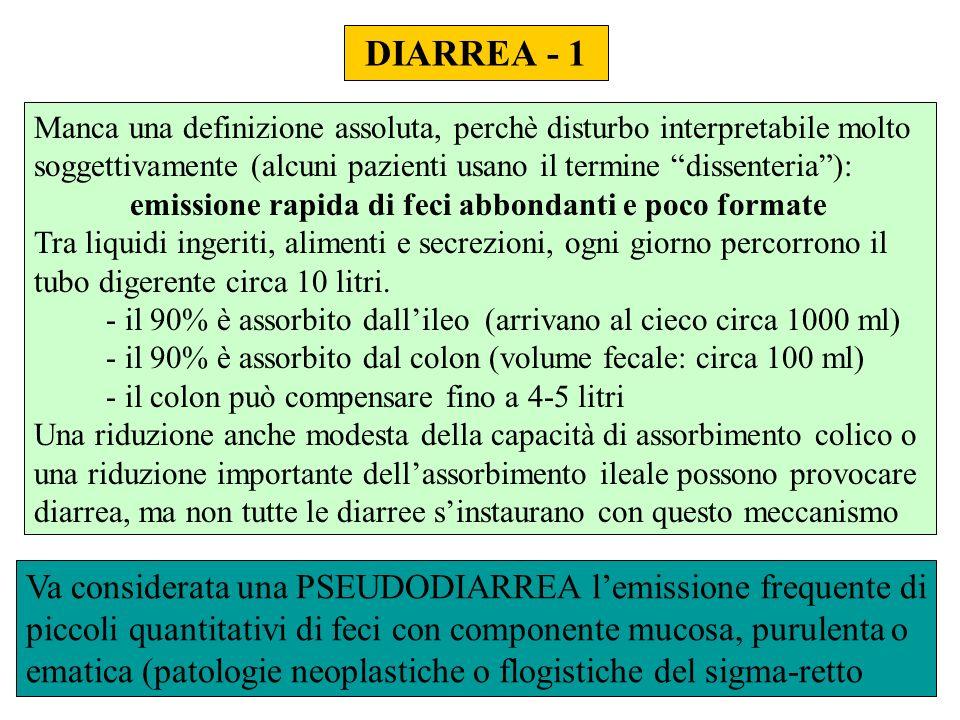 DIARREA - 1 Manca una definizione assoluta, perchè disturbo interpretabile molto soggettivamente (alcuni pazienti usano il termine dissenteria ):