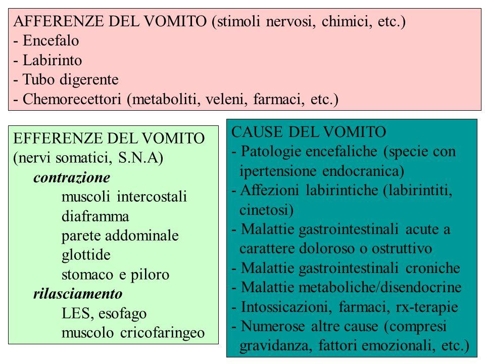 AFFERENZE DEL VOMITO (stimoli nervosi, chimici, etc.)