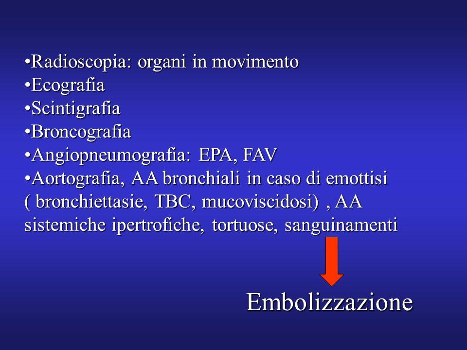 Embolizzazione Radioscopia: organi in movimento Ecografia Scintigrafia