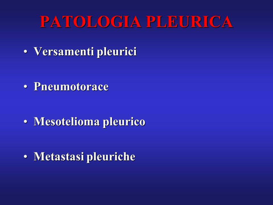 PATOLOGIA PLEURICA Versamenti pleurici Pneumotorace