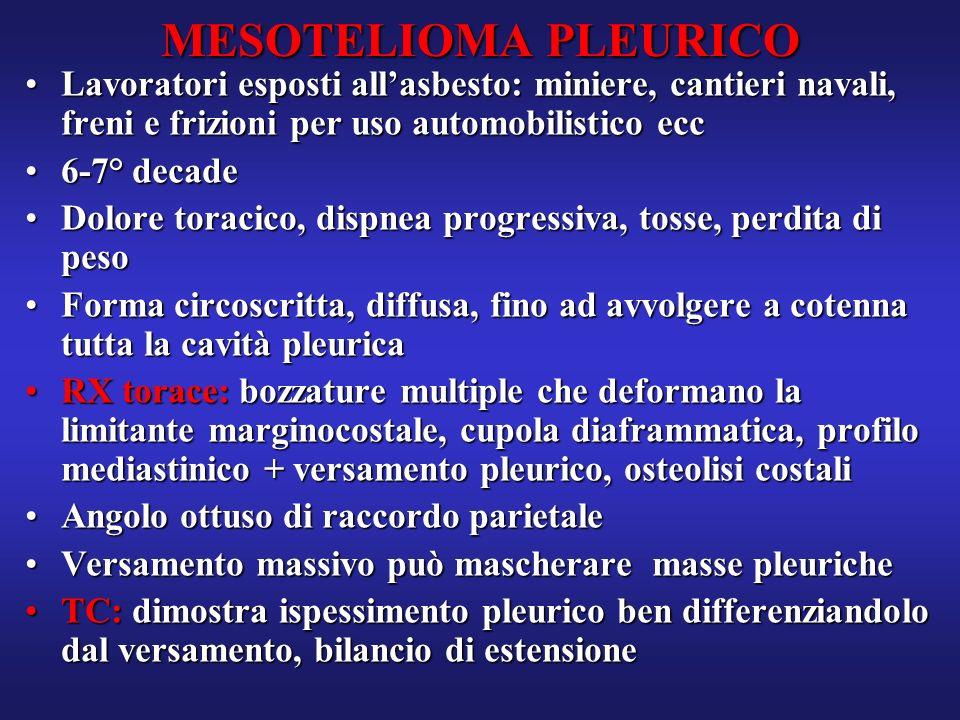 MESOTELIOMA PLEURICO Lavoratori esposti all'asbesto: miniere, cantieri navali, freni e frizioni per uso automobilistico ecc.
