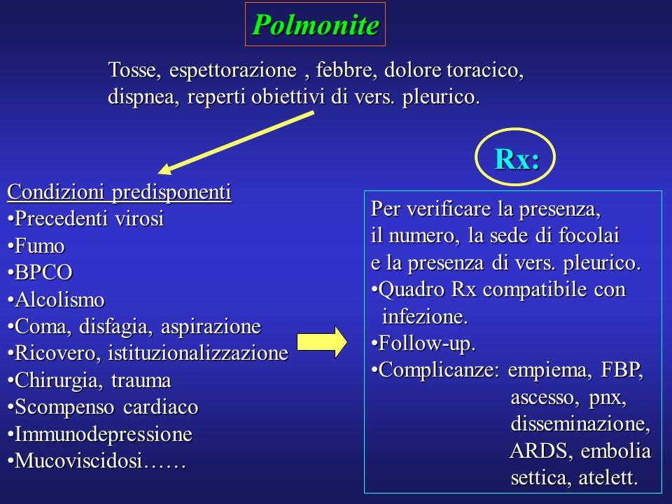 Polmonite Rx: Tosse, espettorazione , febbre, dolore toracico,