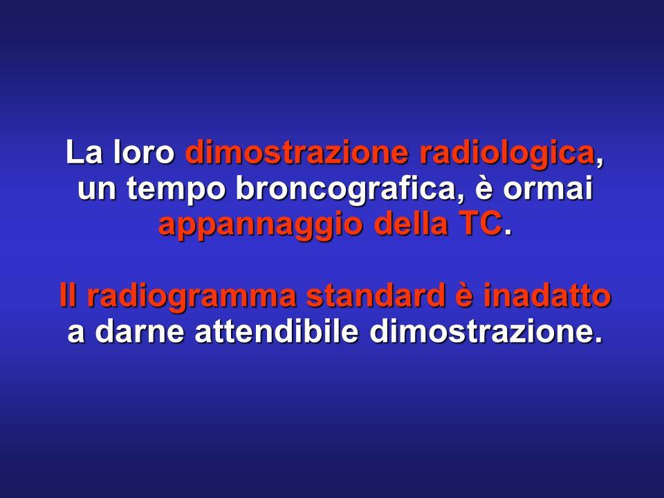 La loro dimostrazione radiologica, un tempo broncografica, è ormai appannaggio della TC.