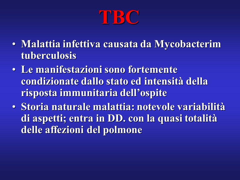 TBC Malattia infettiva causata da Mycobacterim tuberculosis