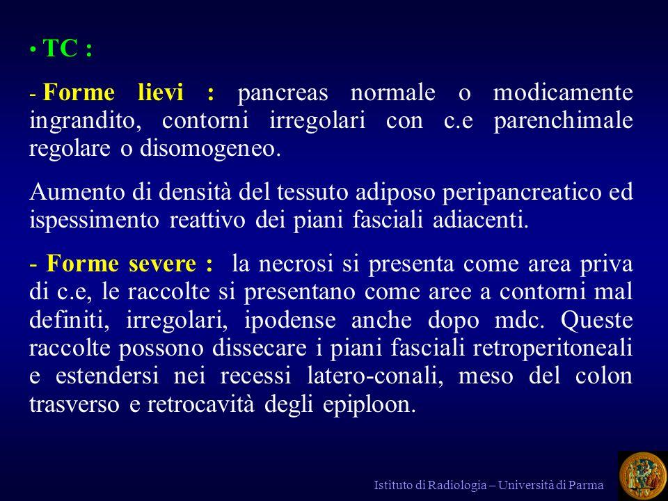 TC : Forme lievi : pancreas normale o modicamente ingrandito, contorni irregolari con c.e parenchimale regolare o disomogeneo.
