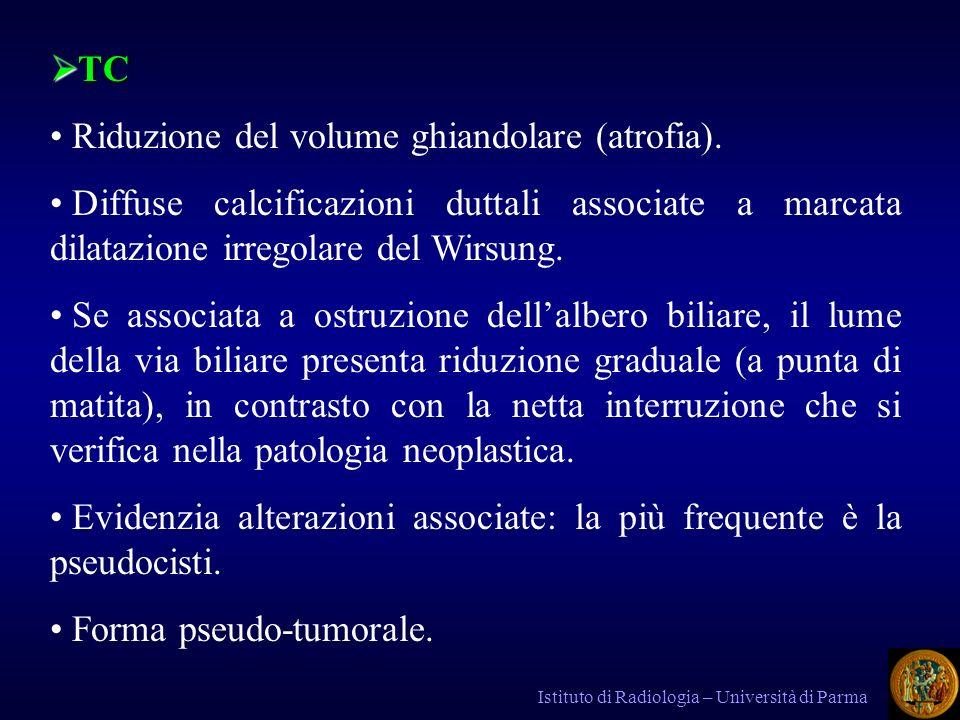 Riduzione del volume ghiandolare (atrofia).