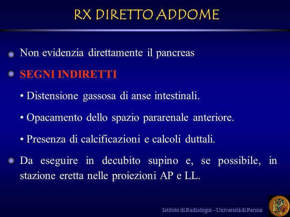 RX DIRETTO ADDOME Non evidenzia direttamente il pancreas