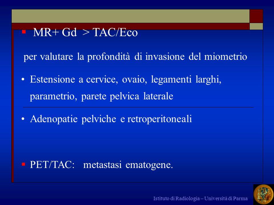 MR+ Gd > TAC/Ecoper valutare la profondità di invasione del miometrio.