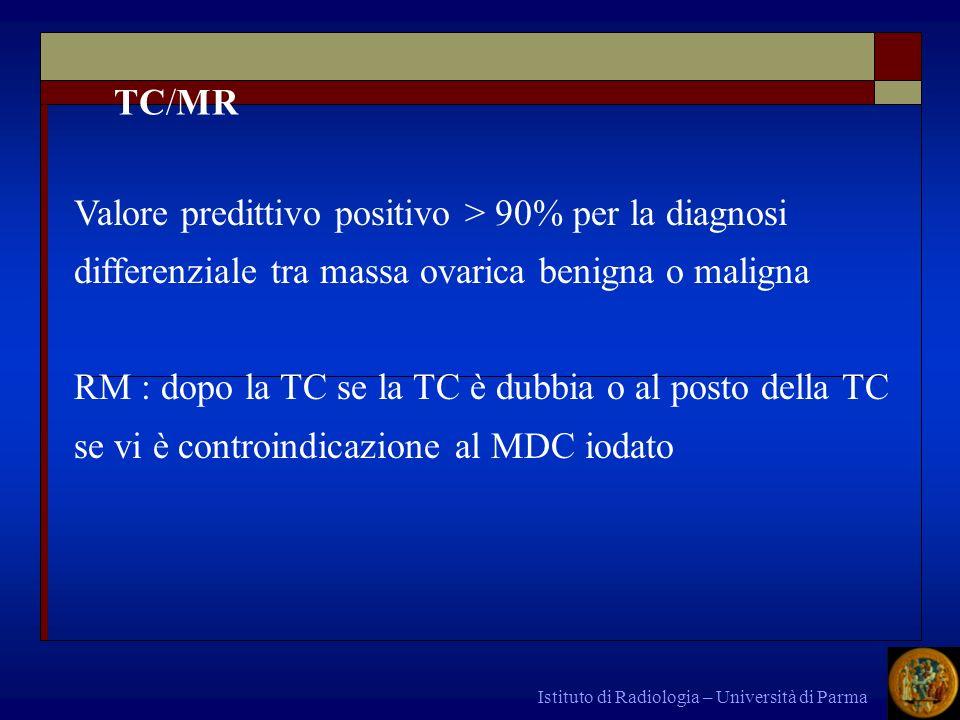 TC/MRValore predittivo positivo > 90% per la diagnosi differenziale tra massa ovarica benigna o maligna.