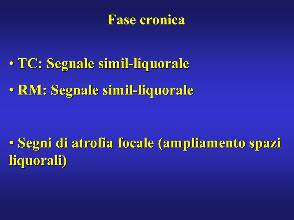 Fase cronica TC: Segnale simil-liquorale. RM: Segnale simil-liquorale.